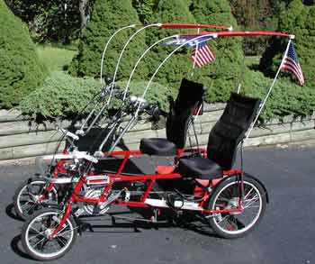 Quadribent side by side recumbent bicycles