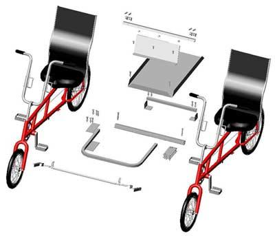 Quadribent Two Ez Classic Recumbent Bicycles To Side By