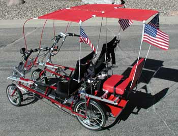 Rumble Seat and sunroof canopies added to Quadribent dual recumbent vehicle.